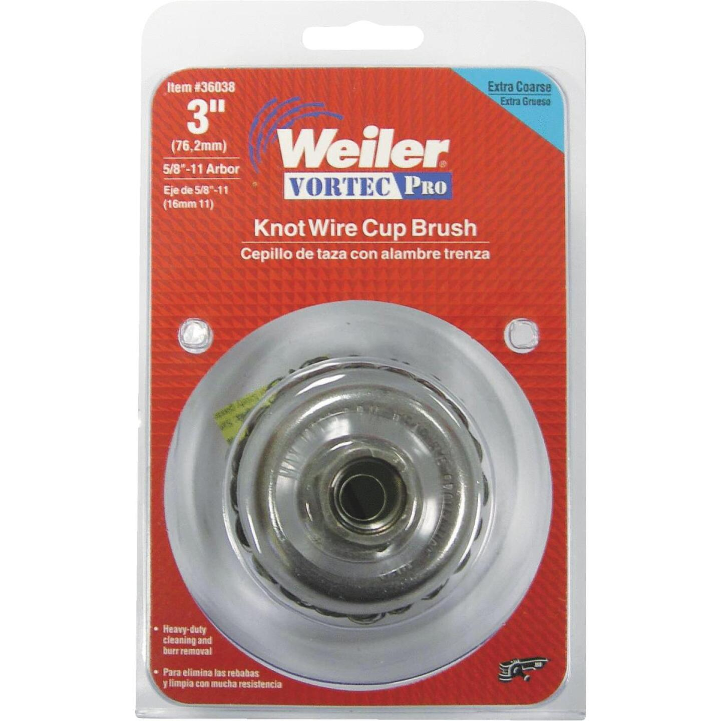 Weiler Vortec 3 In. Knotted 0.02 In. Angle Grinder Wire Brush Image 1