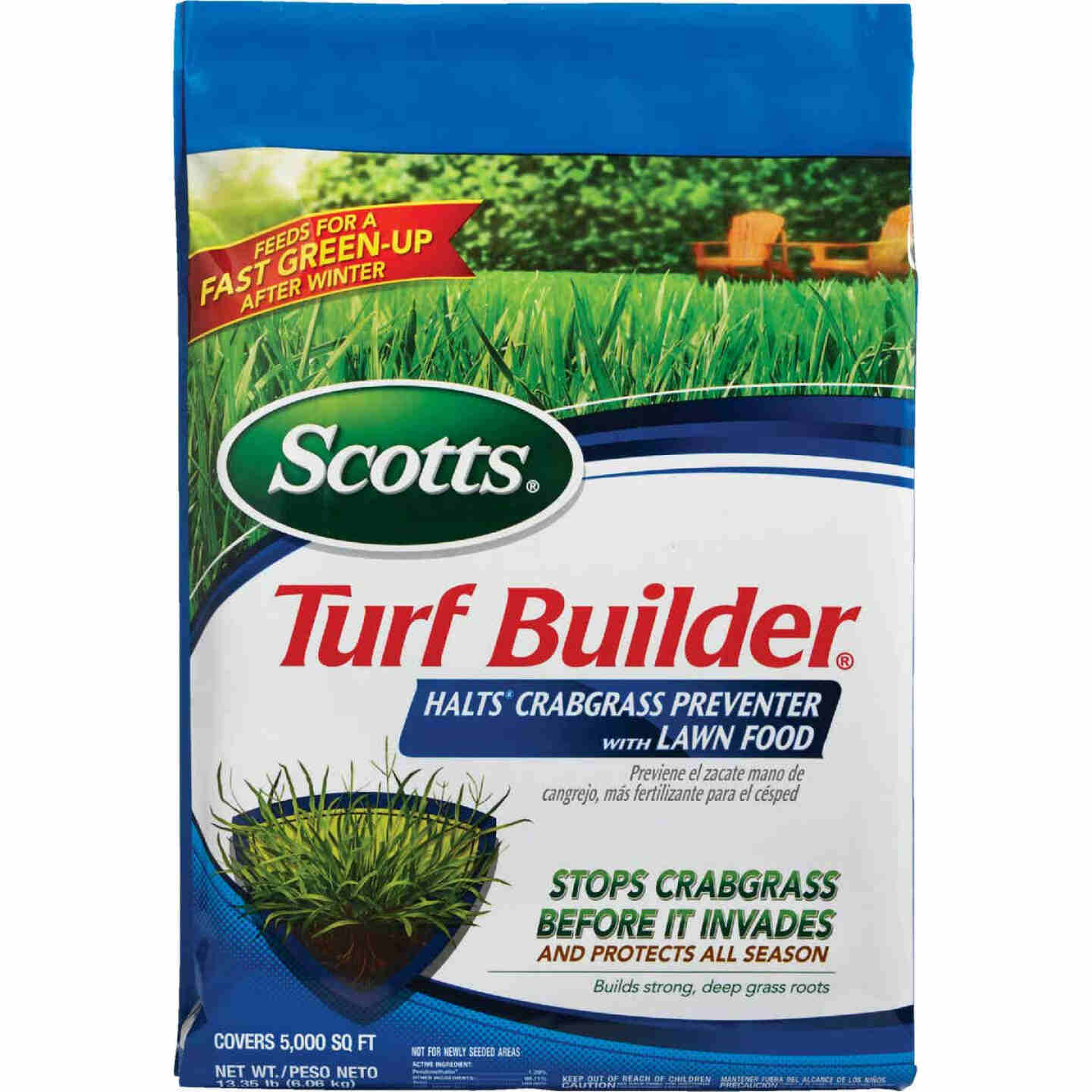 Scotts Turf Builder 13.35 Lb. 5000 Sq. Ft. 30-0-4 Lawn Fertilizer with Halts Crabgrass Preventer Image 4