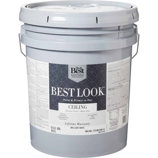 Best Look Latex Paint & Primer In One Matte Flat Ceiling Paint, Brilliant White, 5 Gal.