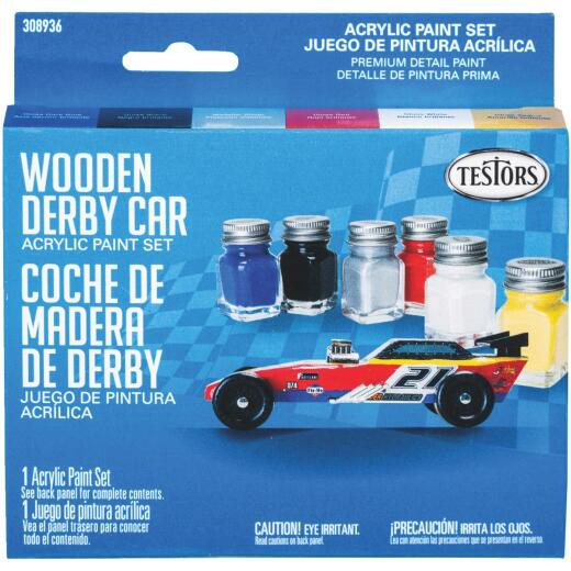 Testors Wooden Derby Car Acrylic Paint Set (Blue, Black, Silver, Red, White, Yellow)